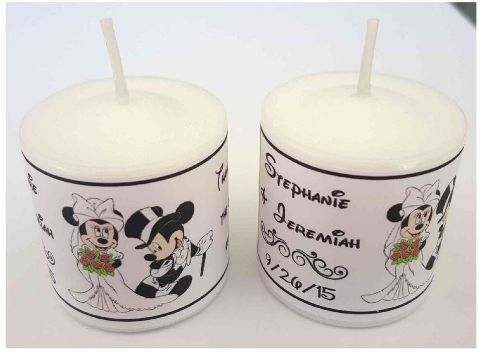 Personalized Disney Wedding Gifts: 56 DISNEY MICKEY AND MINNIE WEDDING FAVORS VOTIVE CANDLE