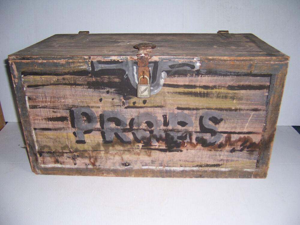 Vintage stage props wooden box crate with hinged lid and for Where to find old wooden crates
