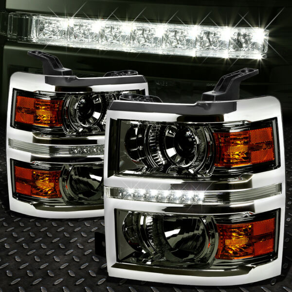 FOR 2014-2015 CHEVY SILVERADO SMOKED AMBER PROJECTOR HEADLIGHT/LAMP W/LED DRL