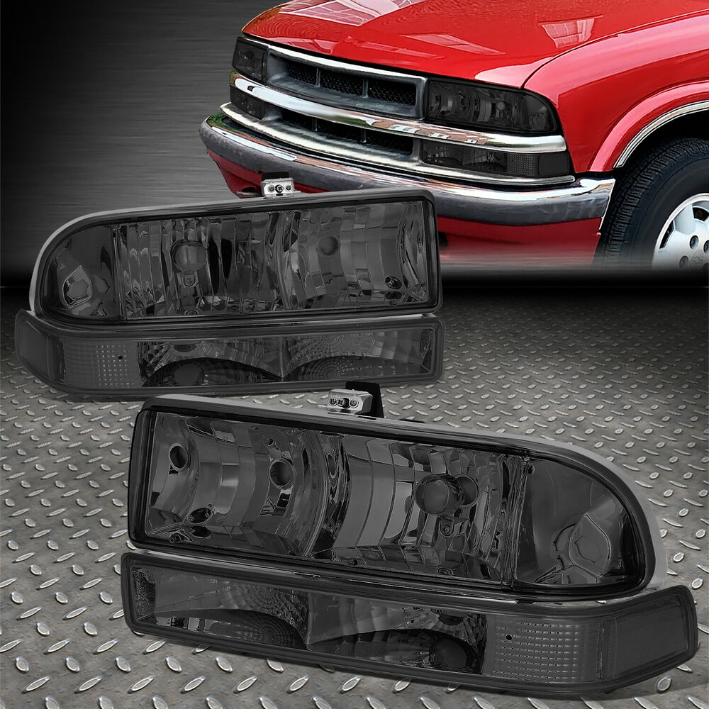 for 98 04 s10 blazer smoked housing tinted headlight clear bumper signal light ebay. Black Bedroom Furniture Sets. Home Design Ideas