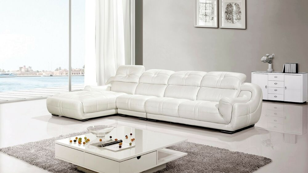 modern contemporary white genuine leather sectional sofa