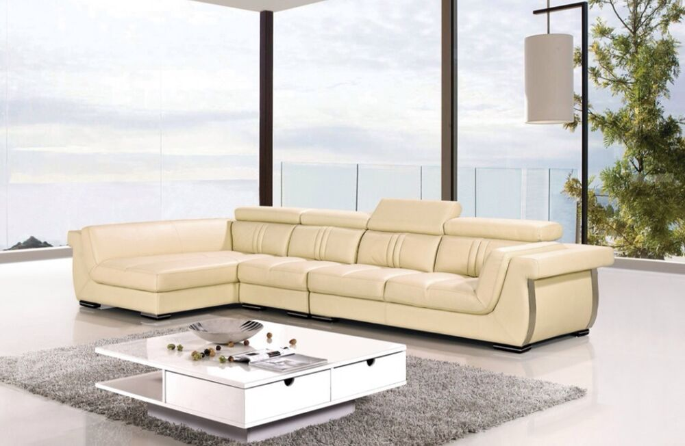3 Pc Modern Contemporary Cream Genuine Leather Sectional