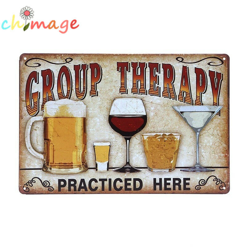 group therapy vintage tin sign bar pub home wall decor retro metal poster ebay. Black Bedroom Furniture Sets. Home Design Ideas