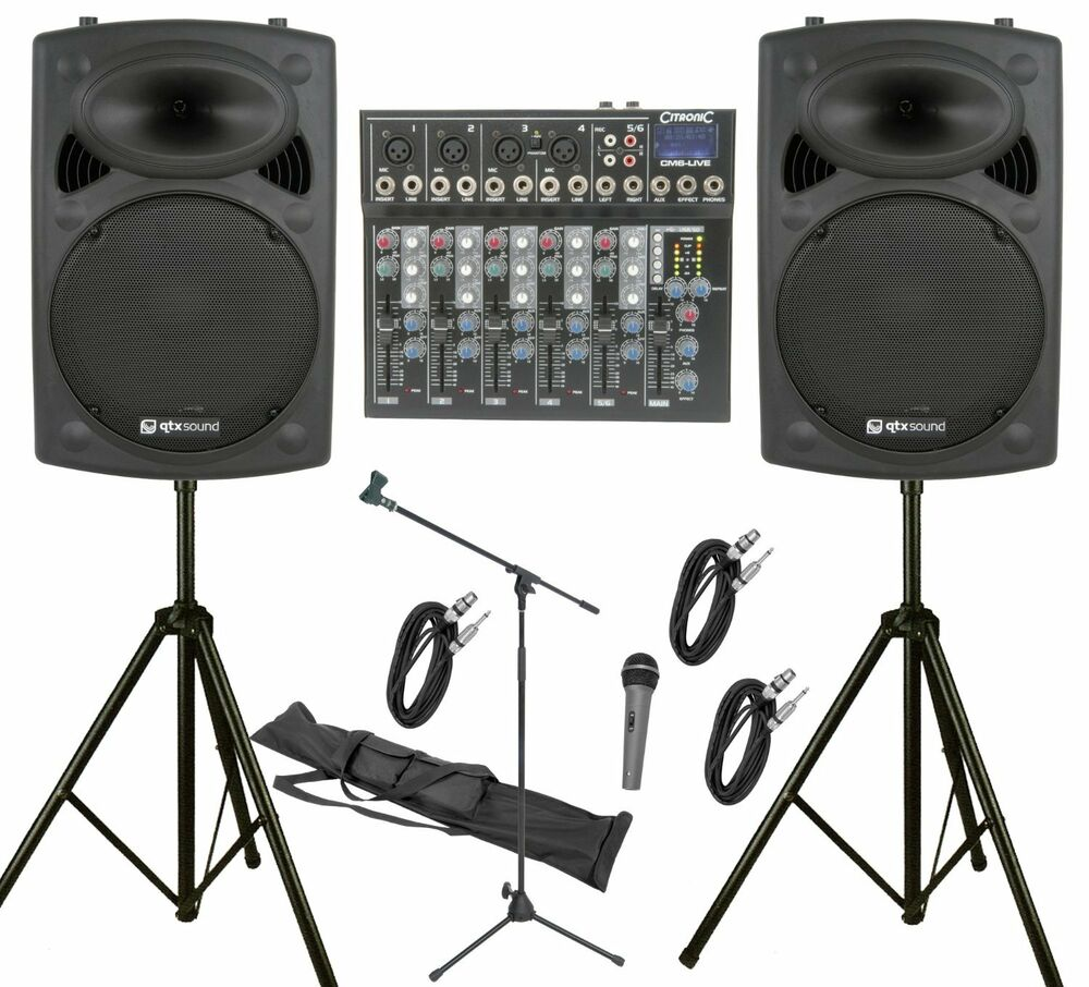 """QTX 600W PA System 6Ch PA System with 12"""" Active Speakers"""