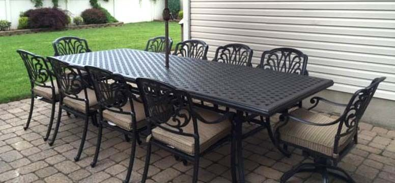 Patio Dining Set Elisabeth 11pc Outdoor Furniture Cast Aluminum Chairs And Ta
