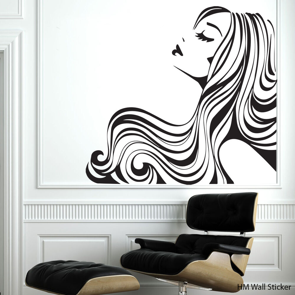 Quot Flowing Hair Quot Removable Wall Stickers Vinyl Decal For