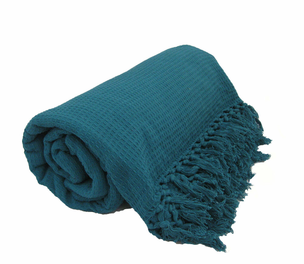 Teal 100% Cotton Sofa / Bed Throw Single Double King Size