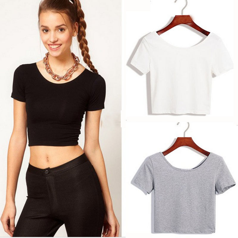 Sexy women crop tops cropped scoop neck casual blouse vest for Short t shirts ladies