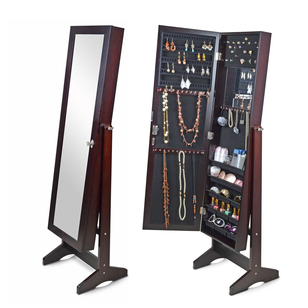 Brown mirrored jewelry cabinet armoire storage chest rings for Mirror jewelry armoire