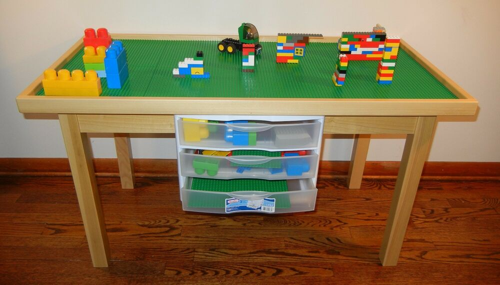 Lego Natural Play Table With 3 Storage Drawers Solid Wood