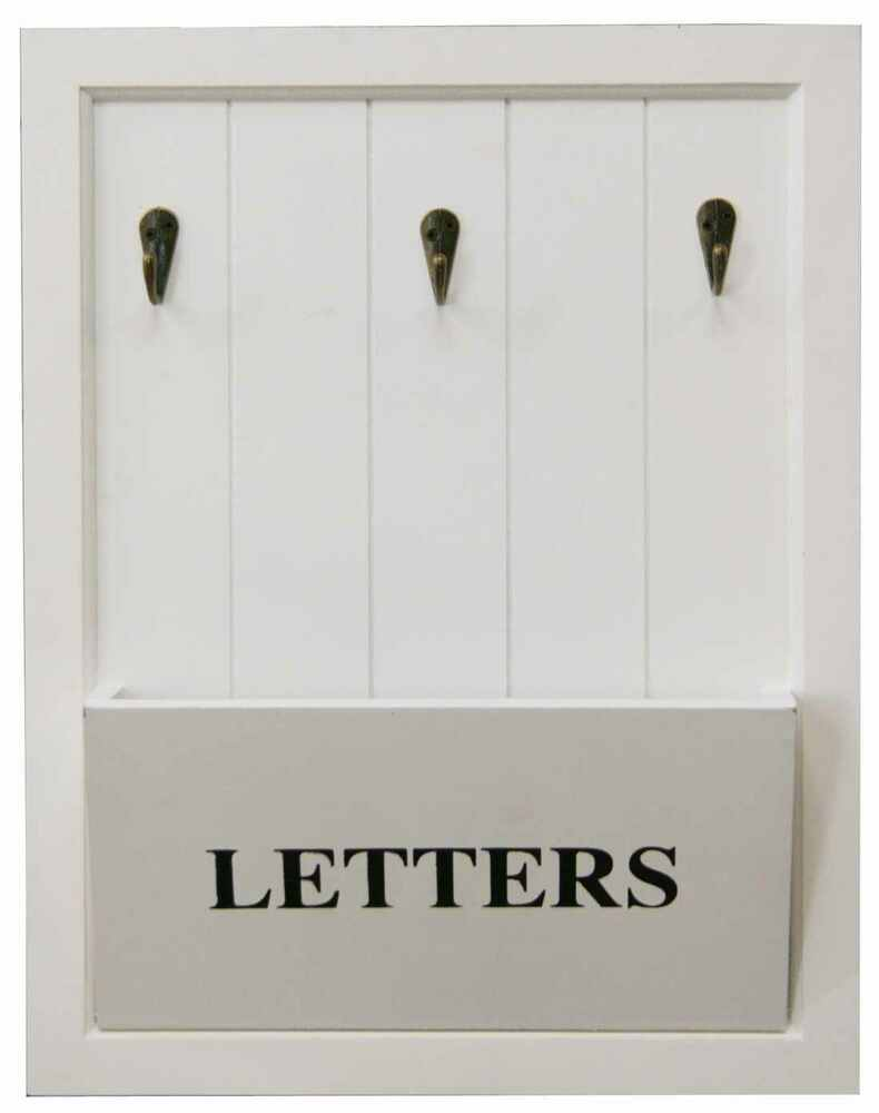 Vintage white letter rack 3 key holder hooks storage shabby chic wall mounted ebay - Wooden letter holder wall mount ...