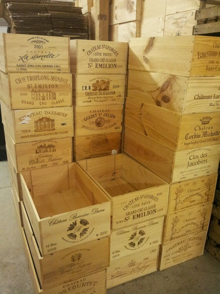 2 x french 12 bottle genuine wooden wine crate box planter for Where to buy used wine crates
