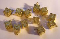 VINTAGE 12 FILIGREE BRASS BEADS CUBE BOX DANGLES ANTIQUE BEAD DROP 10mm