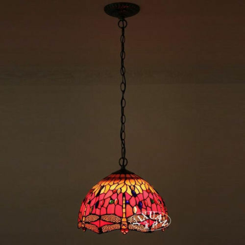 tiffany style dragonfly stained glass hanging pendant ceiling lamp. Black Bedroom Furniture Sets. Home Design Ideas