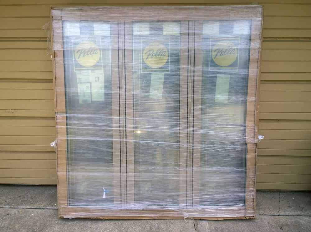 New large pella wood 3 lite picture window w cladding for Window cladding