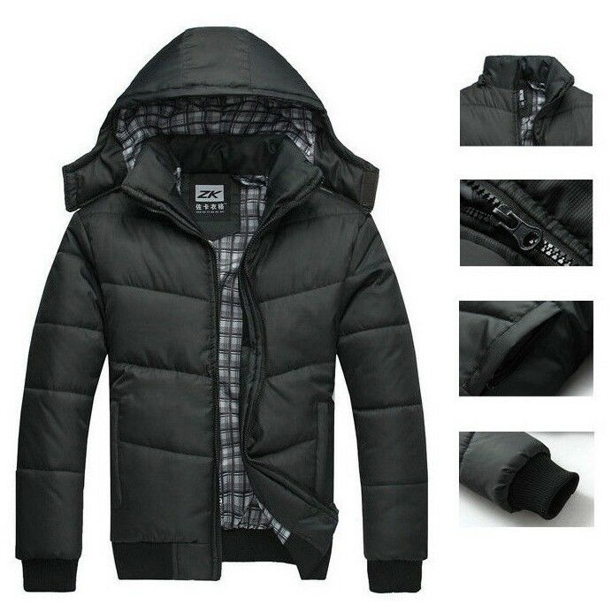 kapuze herren mantel steppjacke winterjacke parka jacke schwarz parka ebay. Black Bedroom Furniture Sets. Home Design Ideas