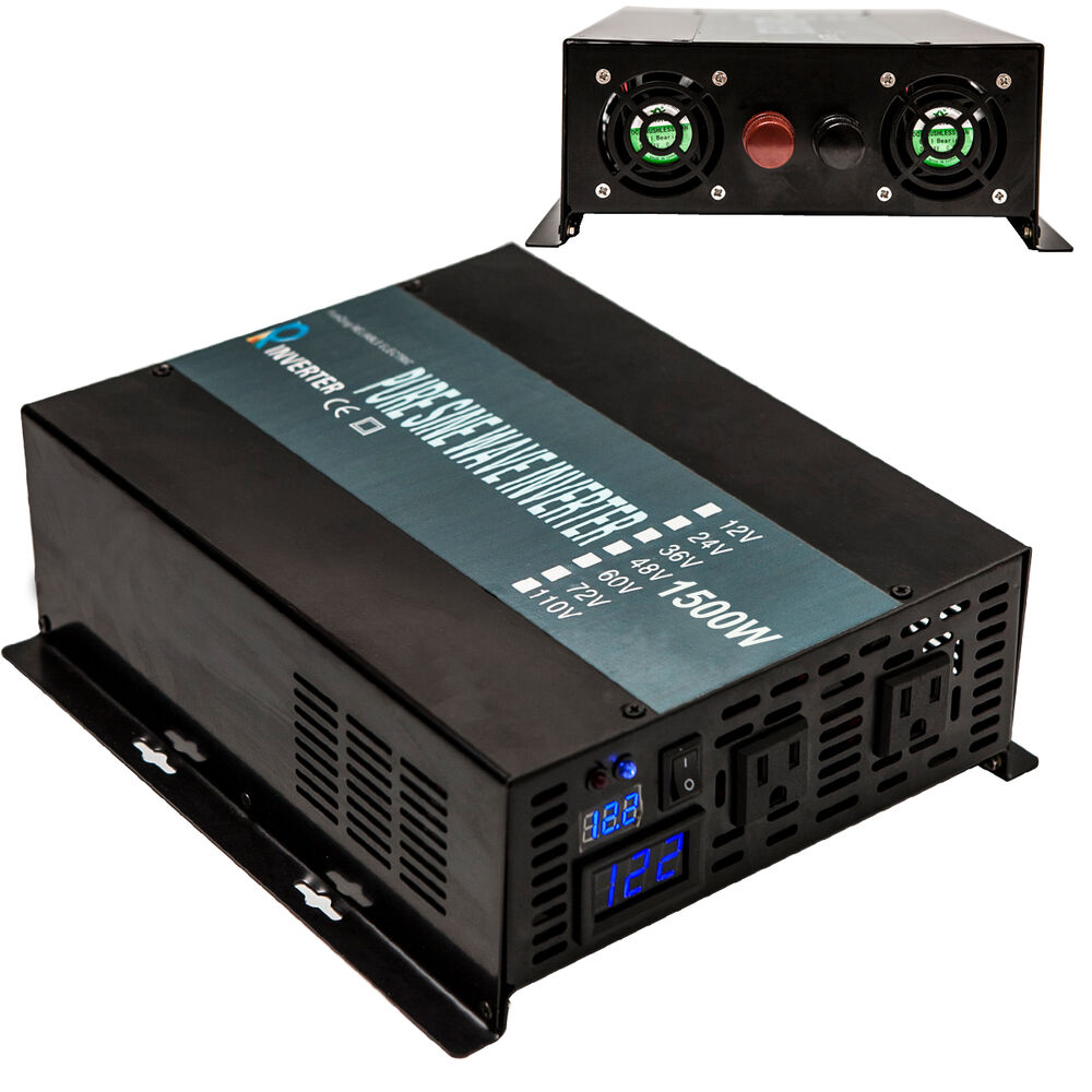 Power Inverter 1500w 12  24  48v To 120  220v Pure Sine Wave Inverter Run Fridge 714686713627