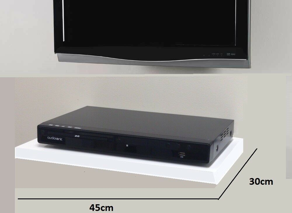 Black Floating Glass Shelves Shelf For Dvd Sky Box Tv Av