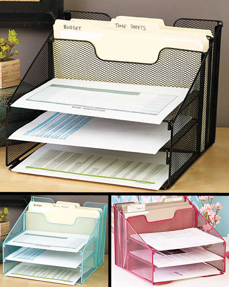 office supply organizer 5 compartment desktop file organizer in desk paper 23963