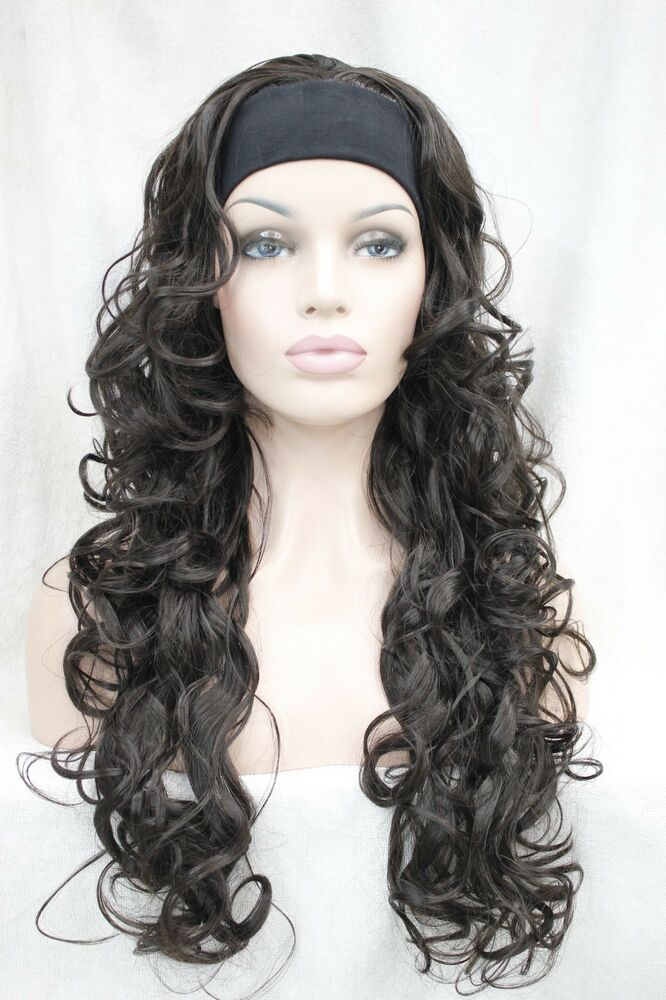 New Vogue 3 4 Wig With Headband Dark Brown Curly Womens