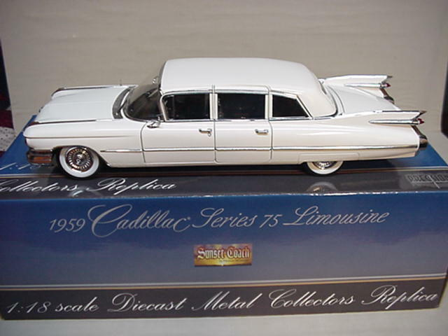 cadillac fleetwood limousine white 1959 precision miniatures 1 18 nice car gm ebay. Black Bedroom Furniture Sets. Home Design Ideas