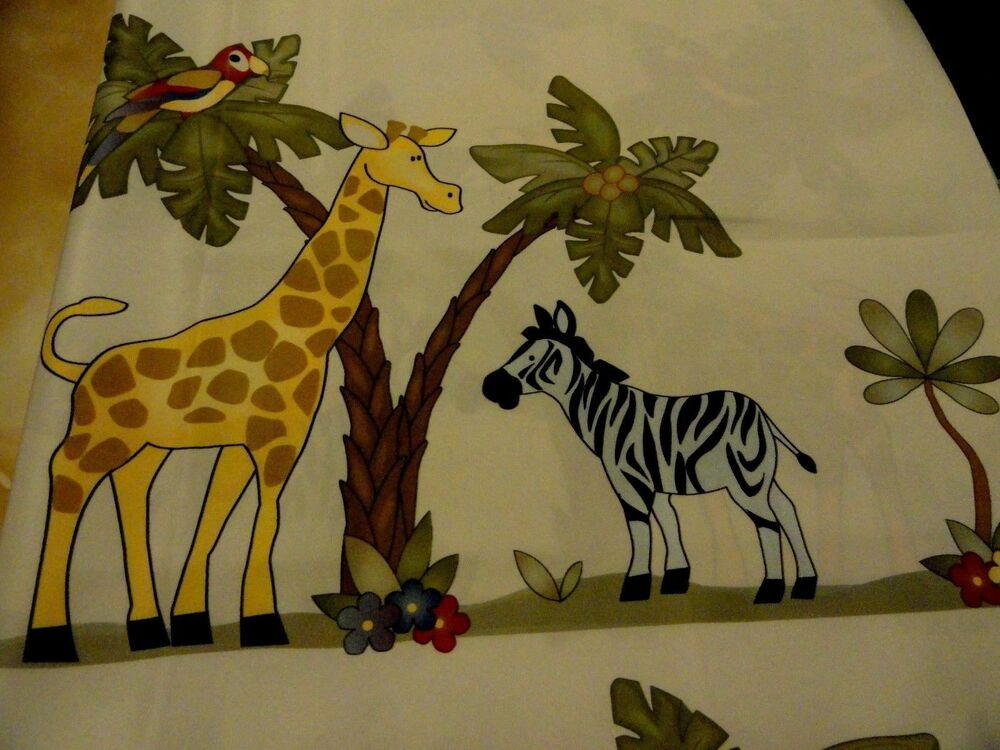 New jungle safari fabric shower curtain child monkey lion for Childrens jungle fabric