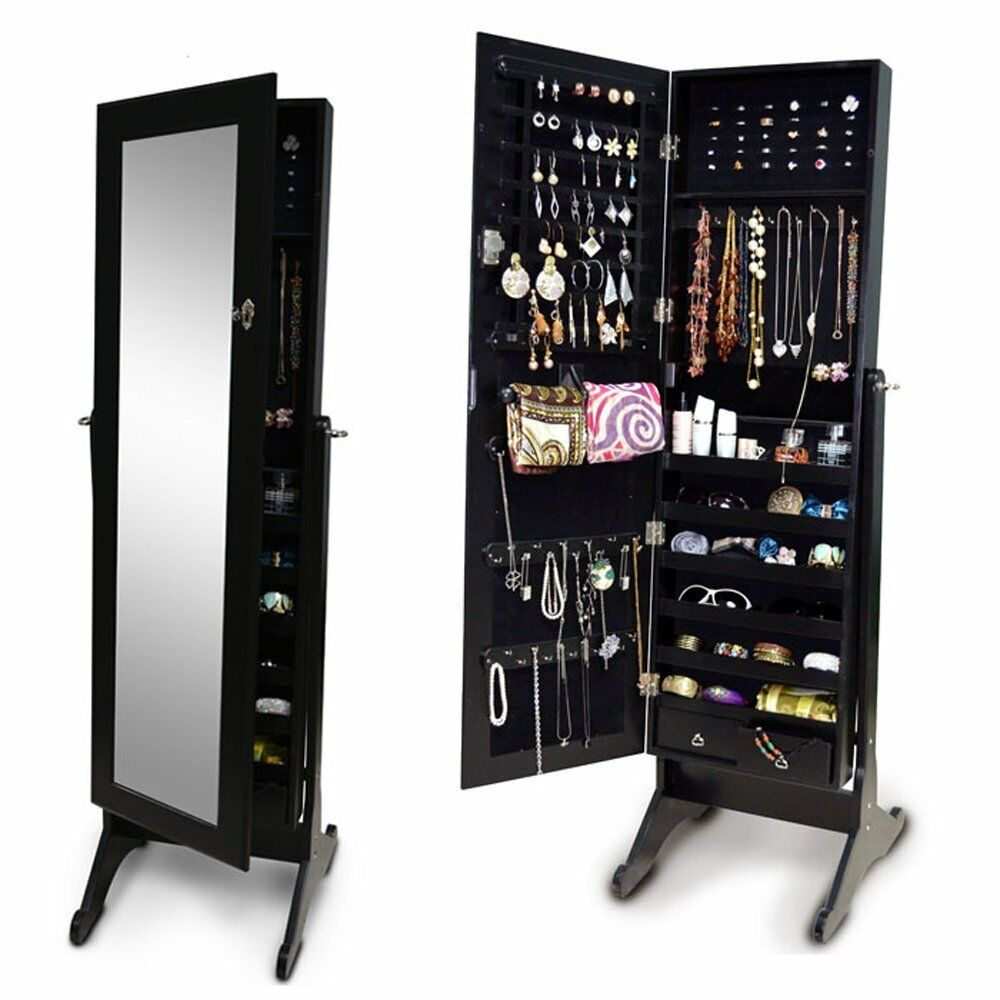 Standing Jewelry Armoire ~ Black mirror jewelry armoire cabinet storage floor