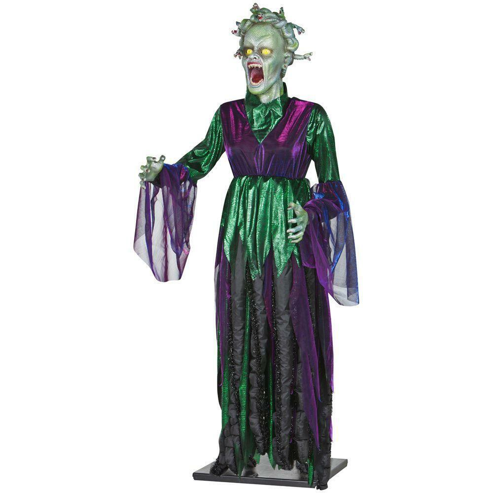 Moving Halloween Decorations: 5 Ft. Life Size Animated Medusa Halloween Decoration