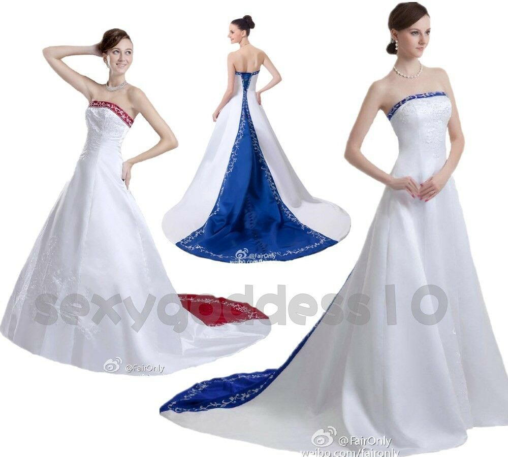 New Embroidery Satin Wedding Dress Bridal Gown Size 6 8 10 12 14 16 18