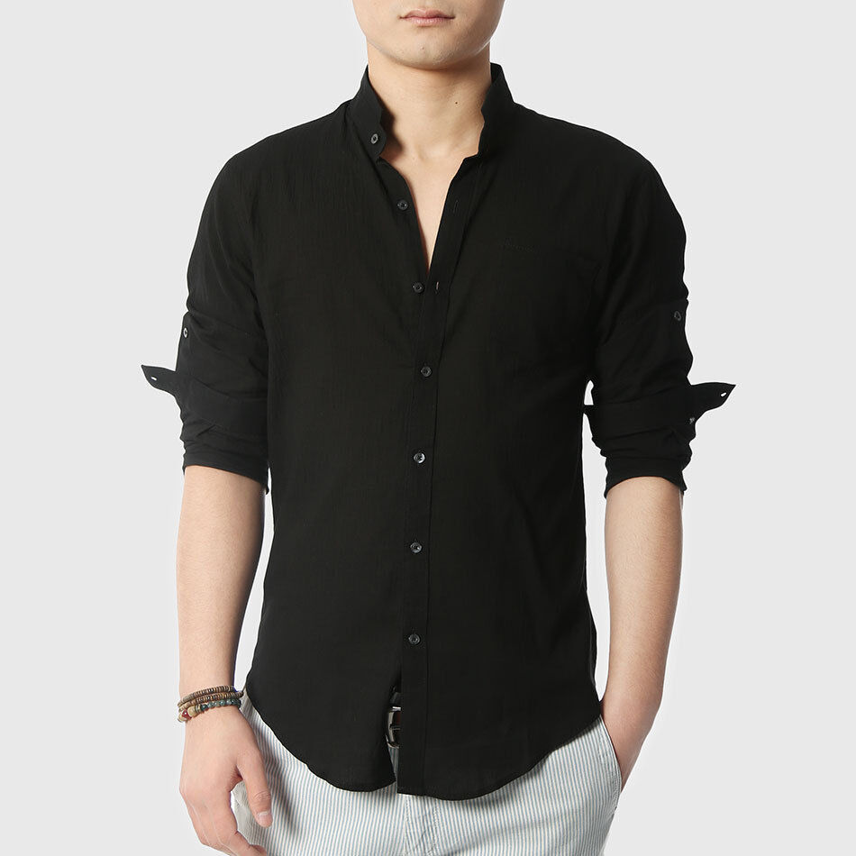 Men plain cotton linen shirts fitness ultra thin sexy Shirts for thin guys