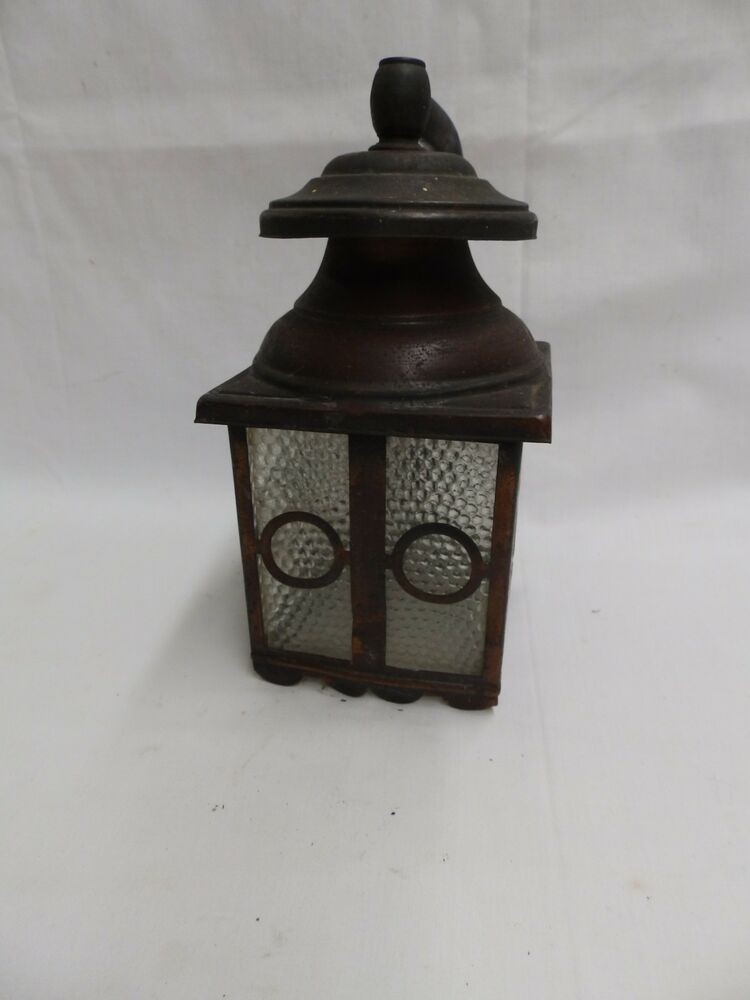 Vintage copper porch sconce light fixture arts crafts for Arts and crafts light