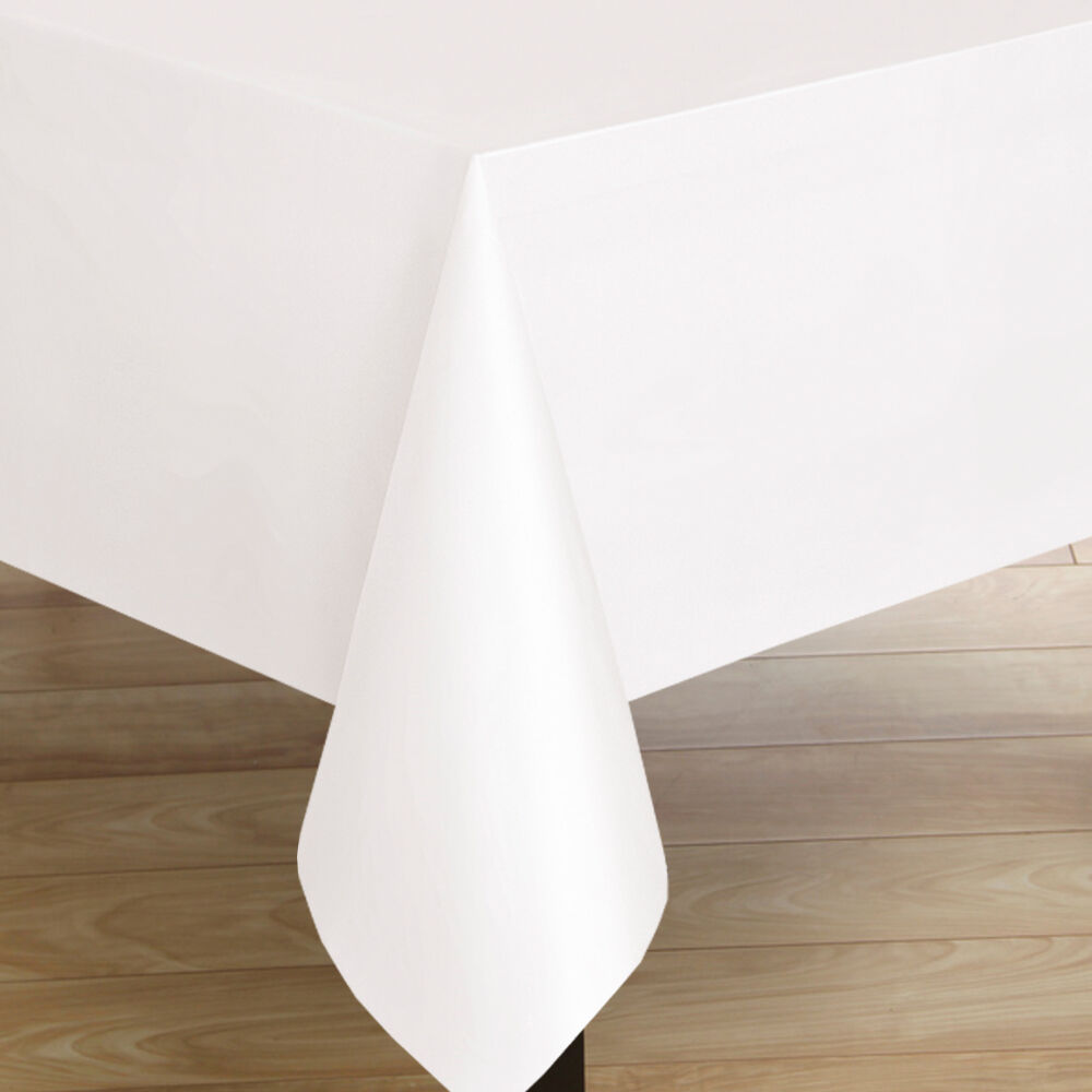 Premium Quality Oblong White Flannel Back Textured Vinyl Tablecloth  52u0026quot; X 70u0026quot; : EBay