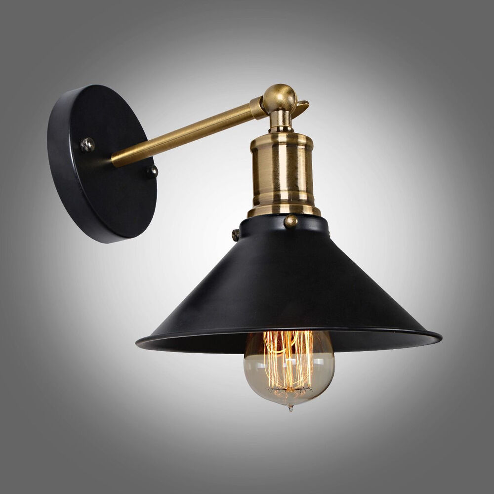 Contemporary Vintage Wall Lights : MODERN VINTAGE INDUSTRIAL LOFT BLACK METAL SCONCE EDISON WALL LIGHT LAMP FIXTURE eBay