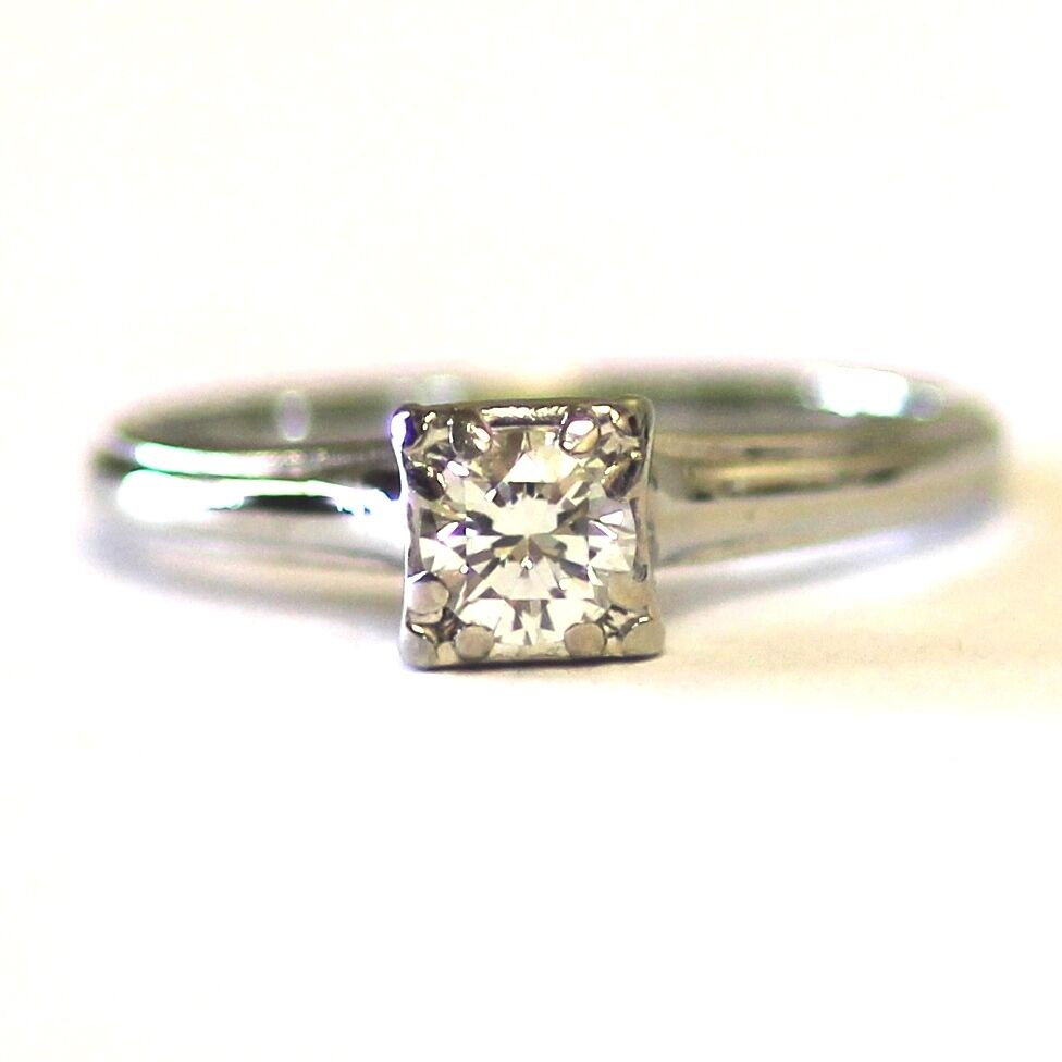 18k white gold vintage 31ct diamond vs g h engagement ring ladies estate ebay. Black Bedroom Furniture Sets. Home Design Ideas
