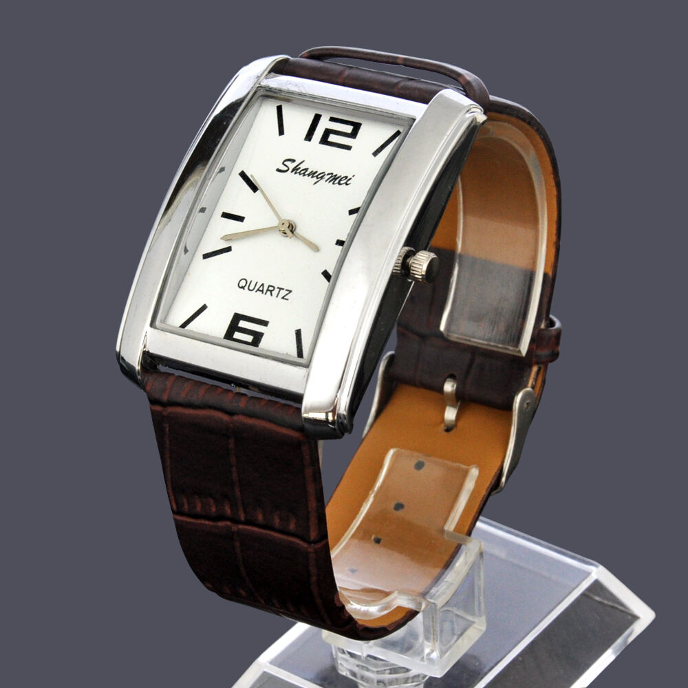 Square steel case white dial brown leather band wrist watch for mens ebay for Leather watch for men