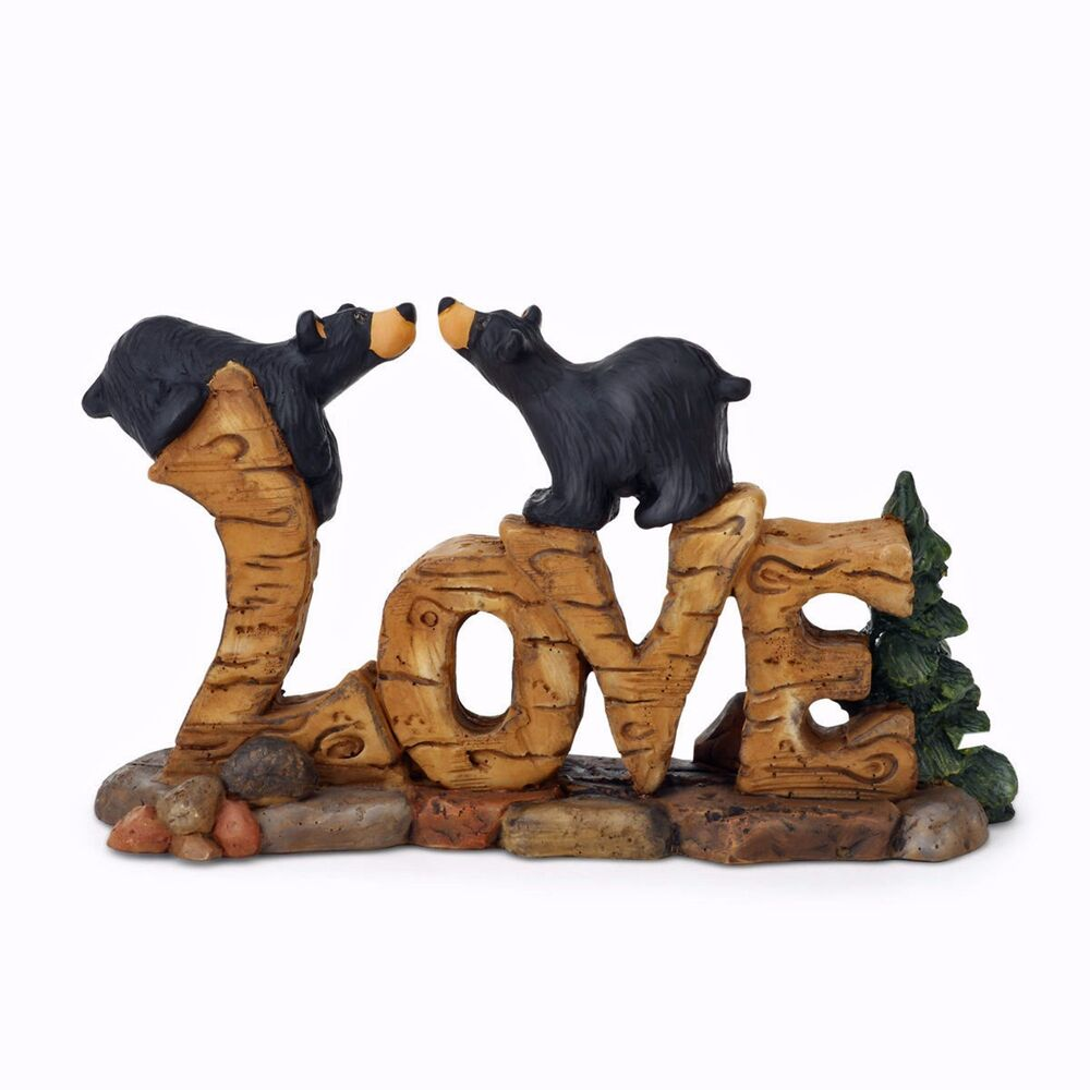 big sky carvers bearfoots bears love figurine by artist jeff fleming black bear ebay. Black Bedroom Furniture Sets. Home Design Ideas