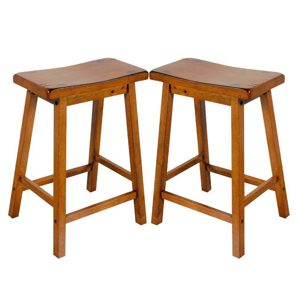 Gaucho set of 2 kitchen 24 h counter height bar saddle stools solid wood in oak ebay - Average height of bar stools ...