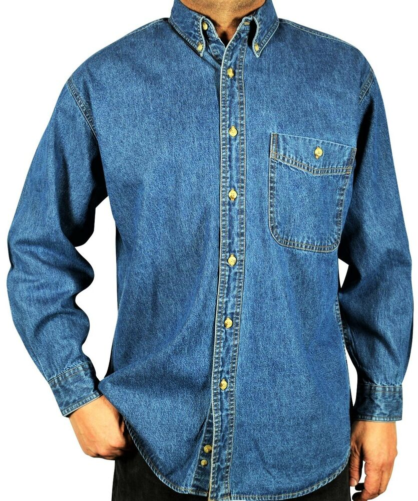 Men 39 s long sleeve denim shirt relaxed fit stone washed for Denim button down shirts