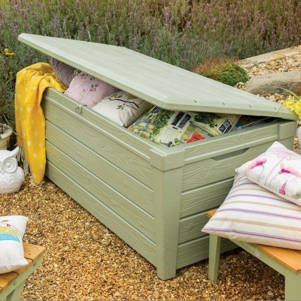 verdi saxon xl size 454l waterproof garden storage bench box ebay