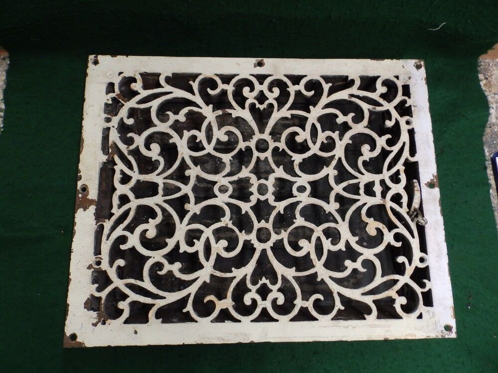 Large Antique Cast Iron Heat Register Grate Vent Old
