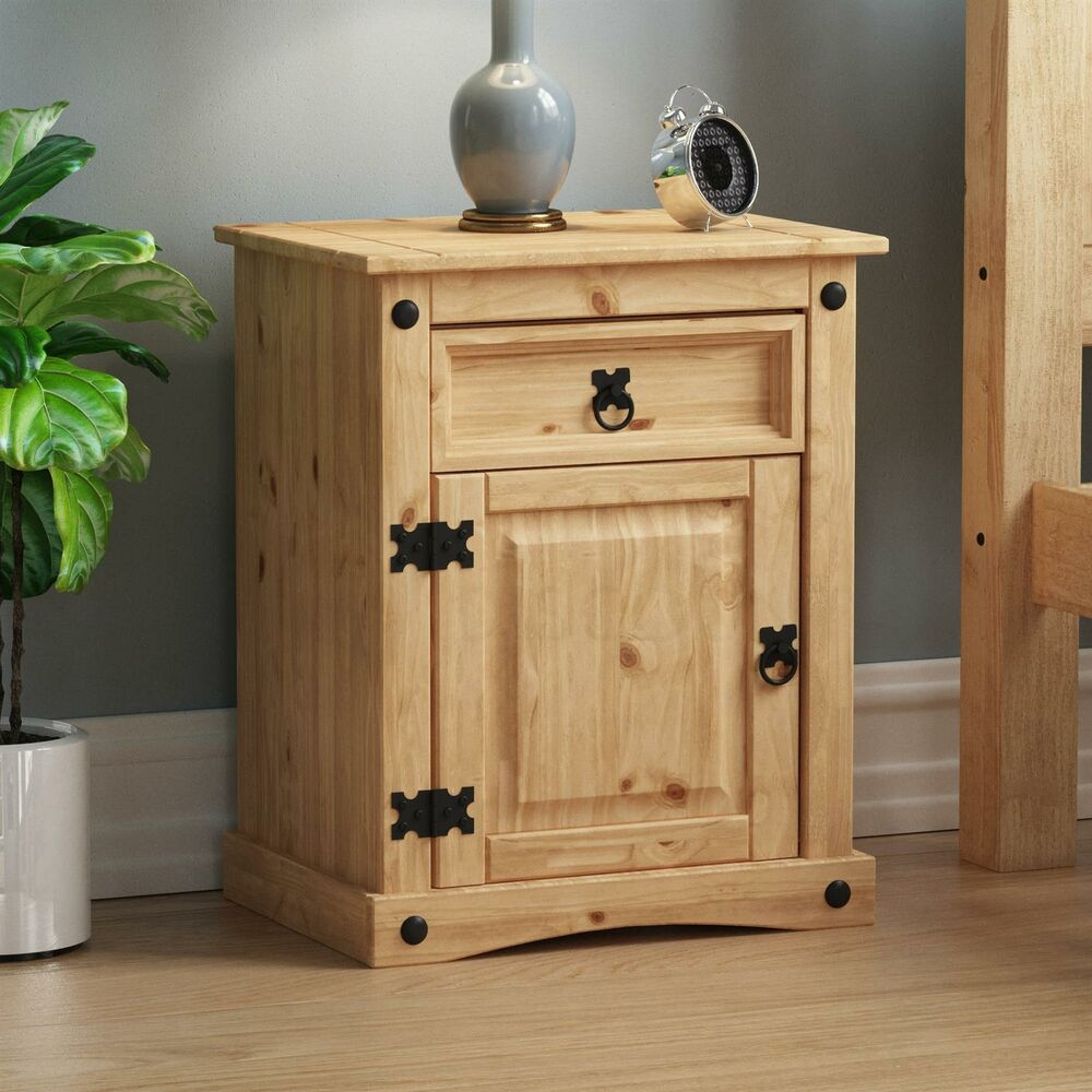 corona bedside cabinet 1 drawer 1 door solid mexican pine waxed by home discount ebay. Black Bedroom Furniture Sets. Home Design Ideas
