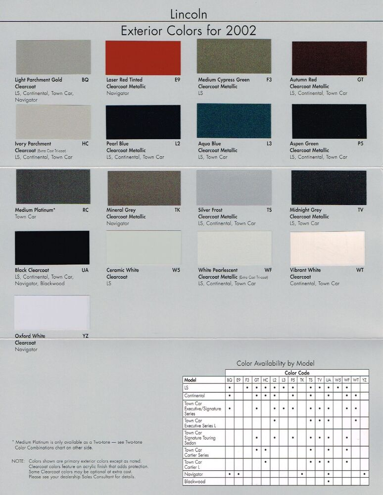 2002 lincoln color chip chart paint brochure continental town car ls navigator ebay. Black Bedroom Furniture Sets. Home Design Ideas