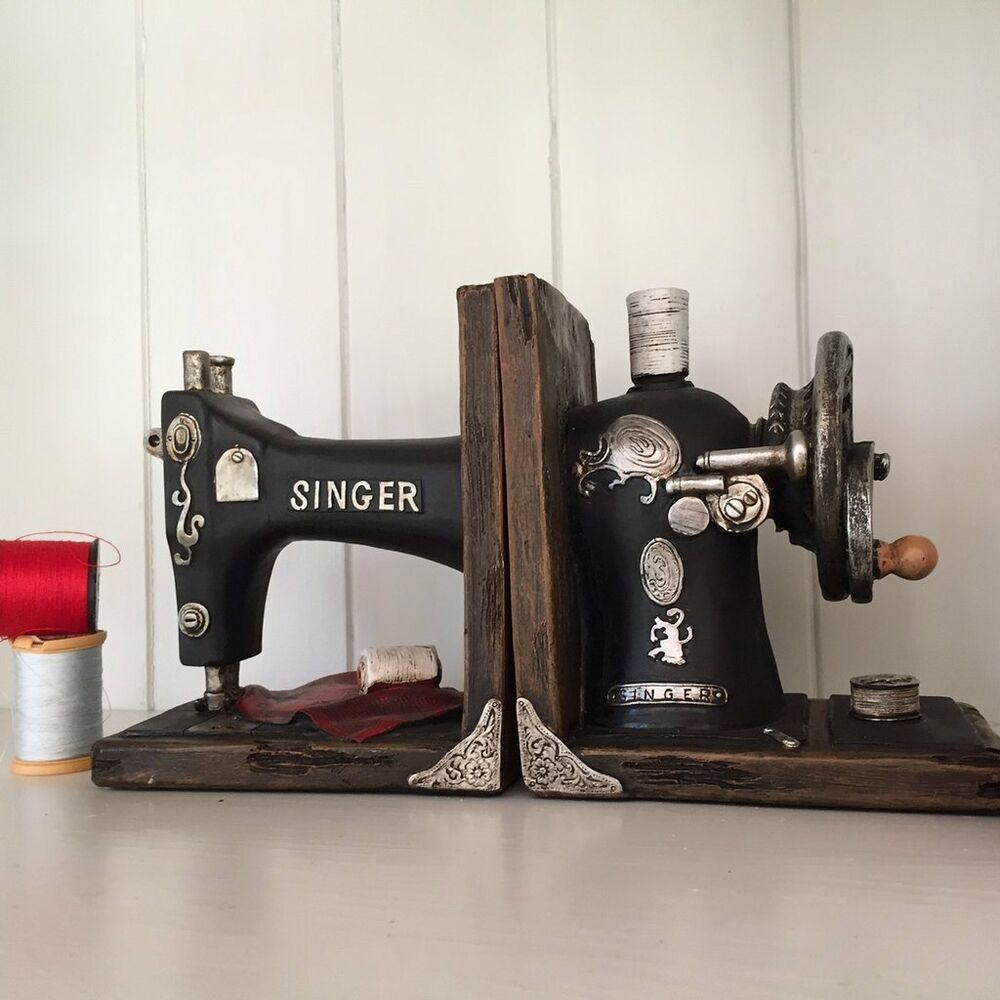 Vintage Singer Sewing Machine Bookends Beautiful Heavy