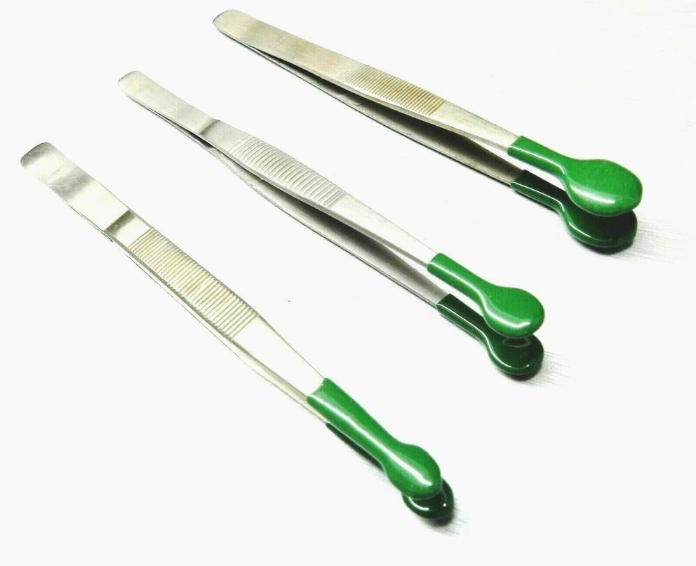 3 Tweezers Set Soft Tip Pvc Coated Rubber Tipped Round