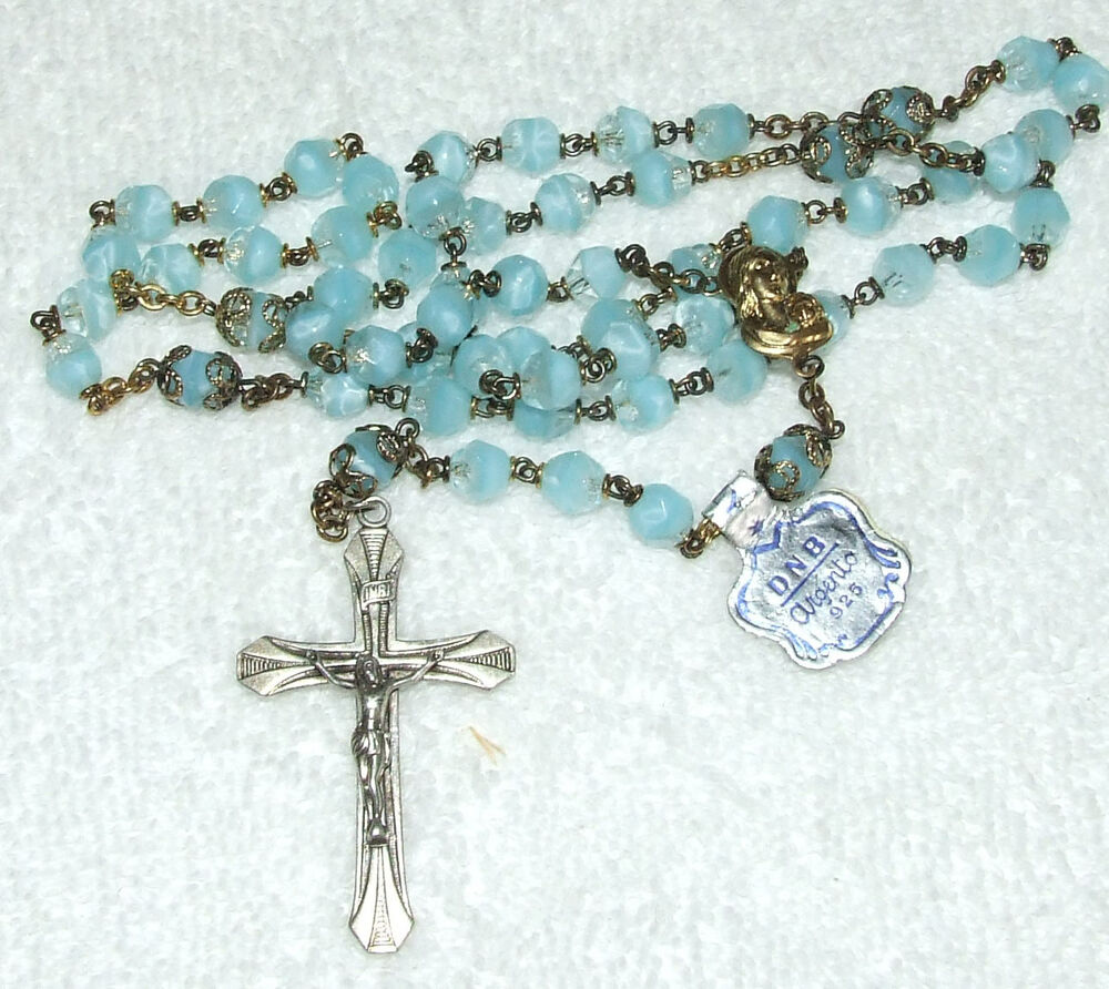 Antique Dnb Argento 925 Rosary Sterling Silver Faceted