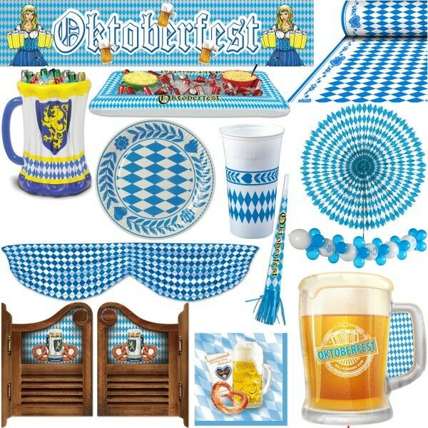 oktoberfest dekoration deko wiesn party bayrisch bayern bavaria blau weiss feier ebay. Black Bedroom Furniture Sets. Home Design Ideas