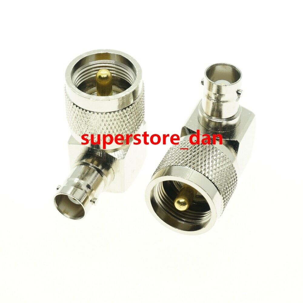 UHF PL259 male to BNC female jack right angle RF adapter connector ...