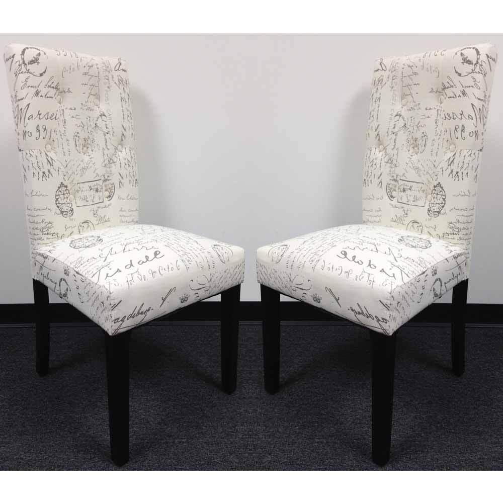 Set of 2 dining side chair upholstery french script micro for Printed upholstered dining chairs