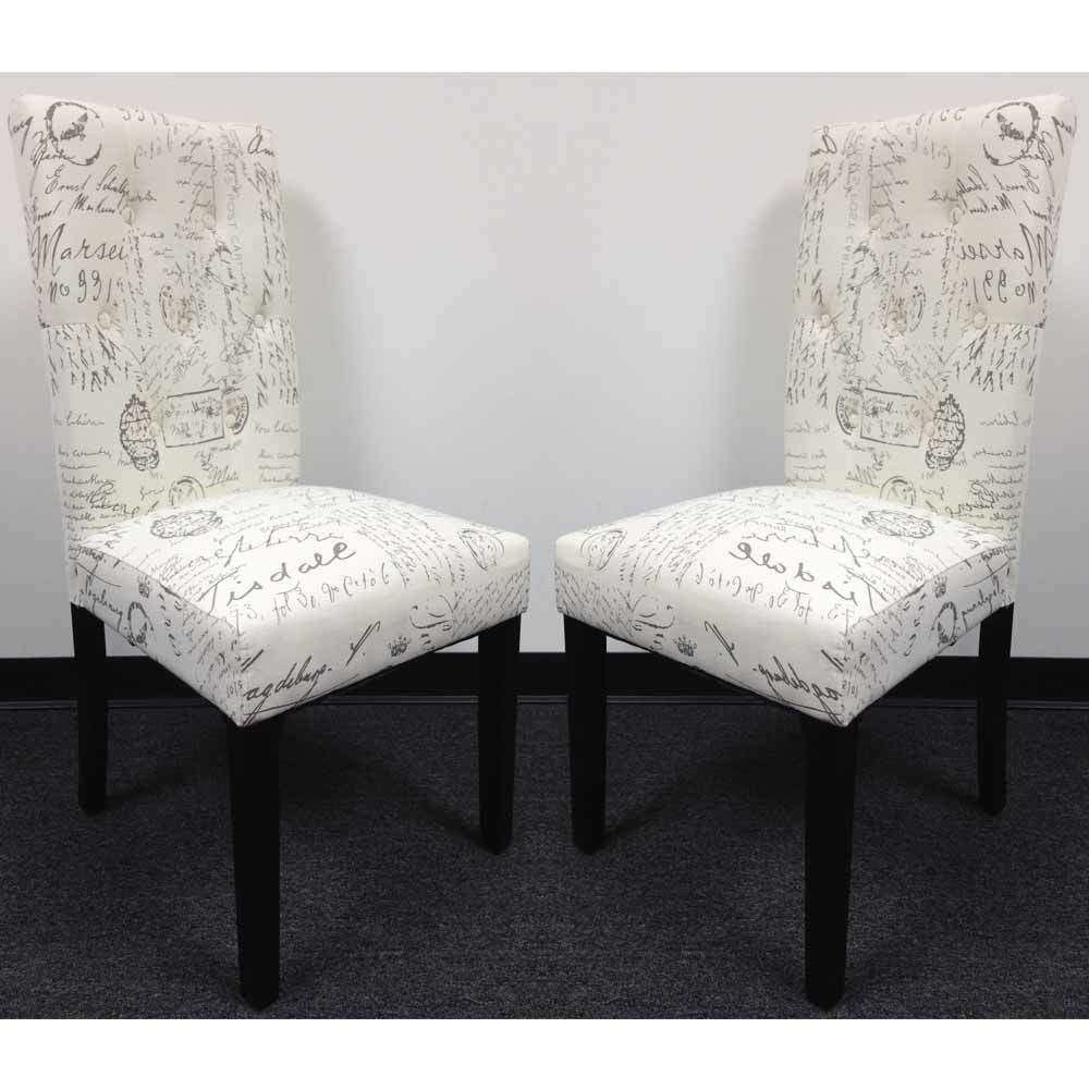 Set of dining side chair upholstery french script micro