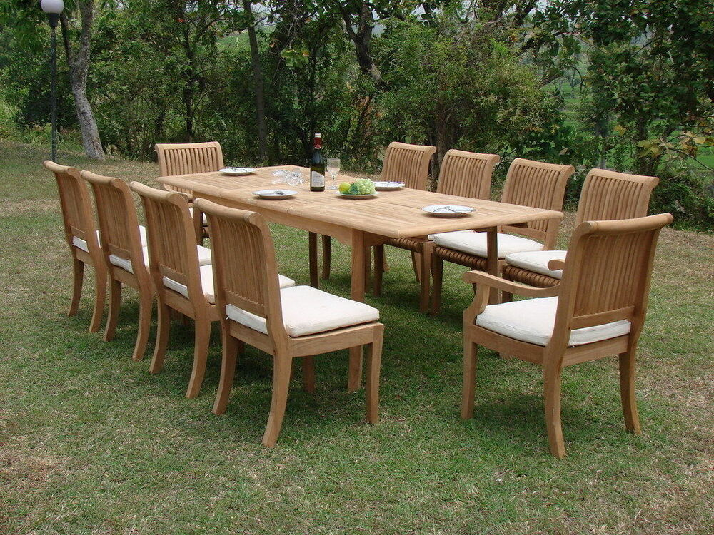 Giva a grade teak wood 11pc dining 94 rectangle table 10 for 10 chair dining table